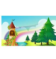 Castle and rainbow vector