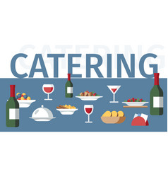 catering service word concept restaurant banner vector image