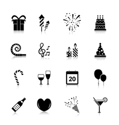 Celebration Icons Black vector image