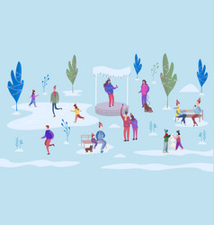 christmas holiday outdoor in flat style vector image