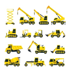 Construction Vehicles Objects Yellow Set vector