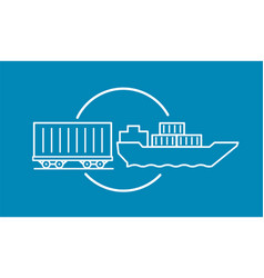 container delivery by rail and water transport on vector image