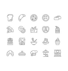cookery line icons signs set outline vector image