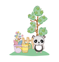 cute bear panda in the garden vector image