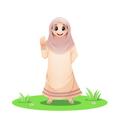 Cute muslim girl standing in grass and waving vector