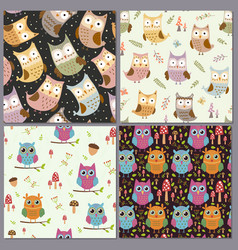 cute owls seamless patterns set funny animals vector image