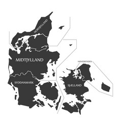 Denmark map labelled black vector