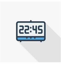 digital clock time watch thin line flat color vector image