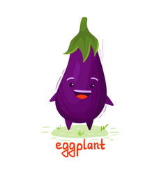 Eggplant with a smiley face vector