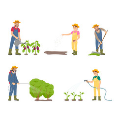 farming people with sprayer vector image