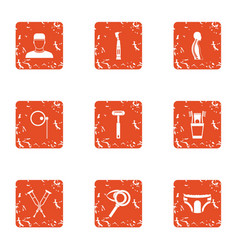 Fix organism icons set grunge style vector