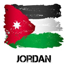 Flag of jordan from brush strokes vector