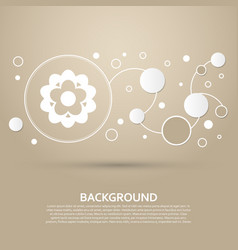 Flower icon on a brown background with elegant vector