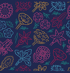 flowers seamless pattern lily and sunflower vector image