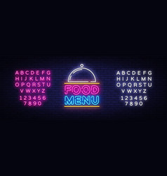 food menu neon sign restaurant menu neon vector image