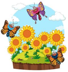 garden scene with butterflies in sunflower garden vector image