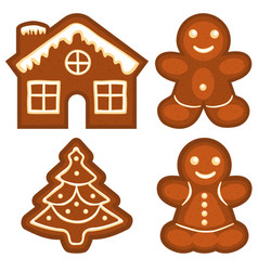 Ginger bread cookie icon logo colorful bright set vector