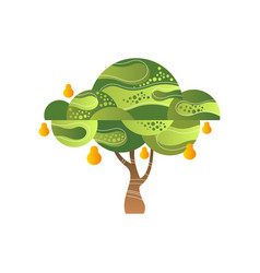 green tree with pear garden plant with ripe vector image