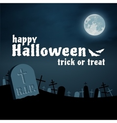 Halloween background cemetery night vector image