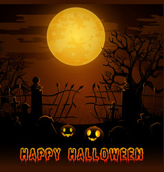 Halloween night background with pumpkins in gravey vector