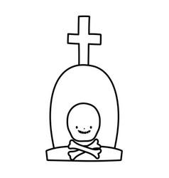 happy halloween celebration tombstone with cross vector image