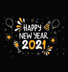 happy new year 2021 gold party cartoon icon card vector image