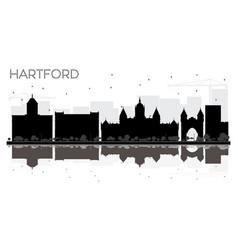 Hartford connecticut usa city skyline black and vector