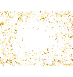 Holiday realistic gold confetti flying on black vector