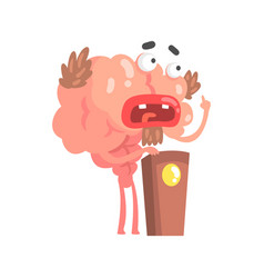 Humanized cartoon brain character speaking from vector