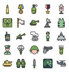 Icons set for military infographics mobile game vector
