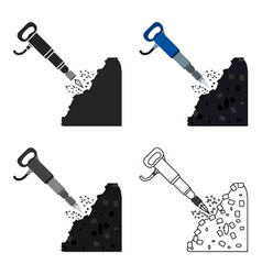 jackhammer icon in cartoon style isolated on white vector image