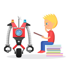 Litle boy sit with direction to robot vector