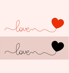 logo love word love with a heart two options vector image
