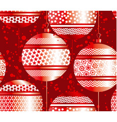 luxury red xmas bubbles seamless pattern vector image