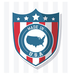 Made in usa flag shield map national image vector