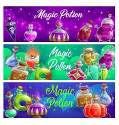 Magic potion bottles banners magical elixir vector