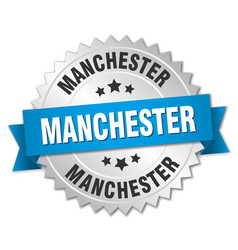 Manchester round silver badge with blue ribbon vector
