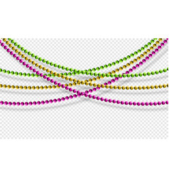 Mardi gras beads isolated on transparent vector