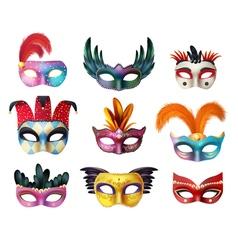 Masquerade Carnival Face Masks Realistic Set vector image
