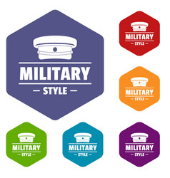 Military hat icons hexahedron vector
