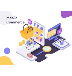 mobile commerce isometric modern flat design vector image