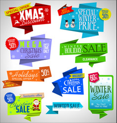modern sale origami christmas banners and labels vector image