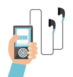 Mp3 book and Headphone icon Audiobooks design vector