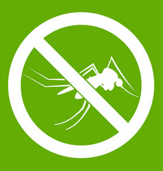 No mosquito sign icon green vector