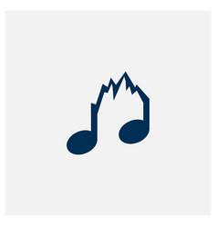 Notes music with mountain logo design vector