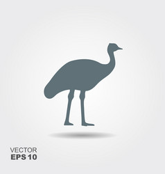 ostrich icon flat silhouette vector image