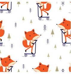 pattern with cute fox vector image