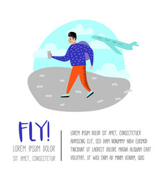 people traveling by plane man in airport vector image