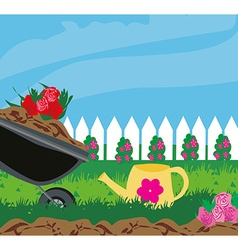 planting flowers vector image