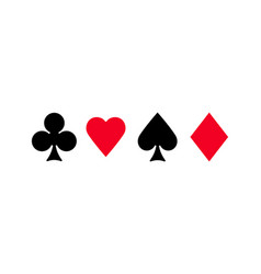 Playing card suits clubs diamonds hearts spades vector